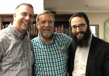 photo - Left to right: Mike Sachs, Dan Shmilovitch and Rabbi Levi Varnai at the Bayit's Belong launch May 12