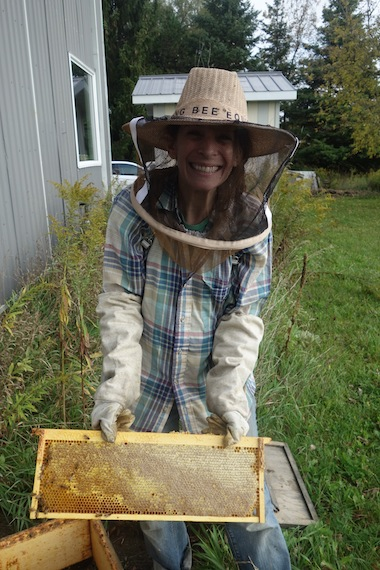 photo - Risa Alyson Cooper beekeeping. Shoresh's Bela Farm, in Hillsburgh, Ont., is home to an apiary and bee sanctuary