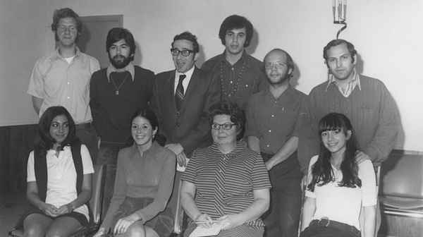 photo - A group of people at a Hillel gathering, 1970. Back row, left to right: unidentified, Richard Bass, Rabbi Marvin Hier, Bob Golden, unidentified, unidentified. Front row, from left: unidentified, unidentified, unidentified, Hildy Groberman