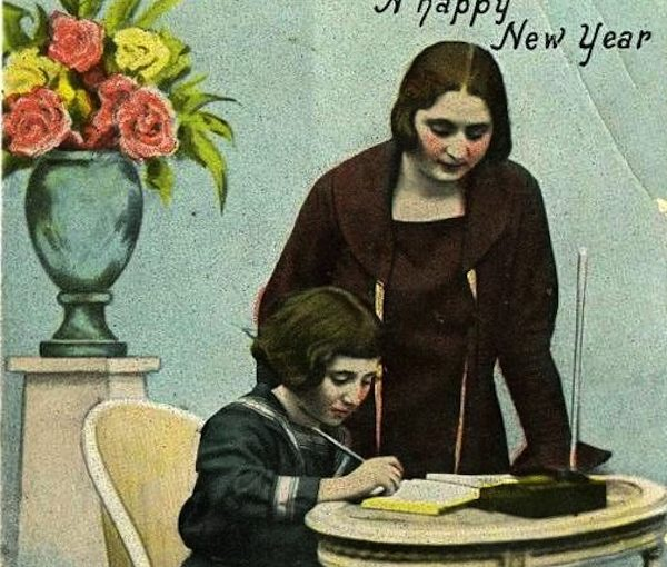 image - One of the family cards, produced 100 years ago, that is currently on long-term loan in the folklore department of the Hebrew University of Jerusalem, on Mt. Scopus. It is from the Chaya and Chana Gitelman Collection. (cropped)
