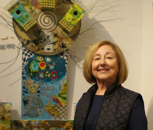 photo - Janet Strayer at the opening of her solo exhibit, Wings of Imagination, on Nov. 28 at the Zack Gallery