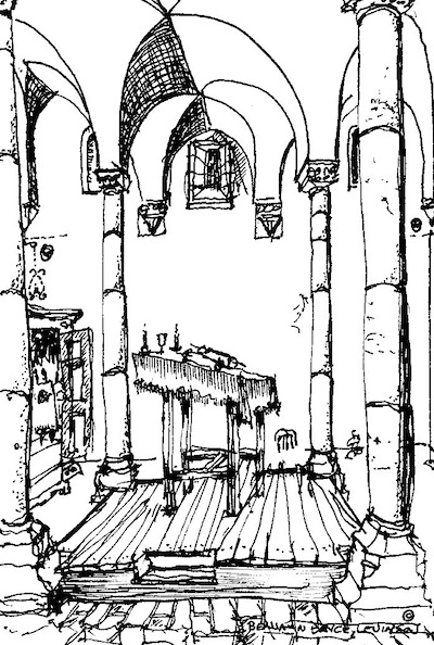 image - Synagogue at Tomar, Portugal. Sketch by Ben Levinson