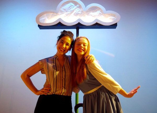 photo - Kat Palmer, left, and Kyra Leroux during the final dress rehearsal for Alice in Wonderland – The Panto, which opened at Metro Theatre Dec. 13 and runs to Jan. 4