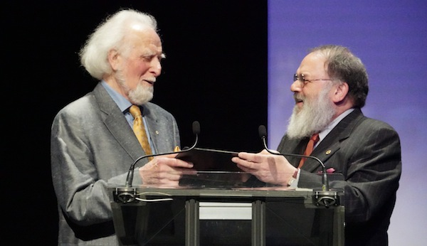 photo - Dr. Yosef Wosk, right, with Max Wyman, 2017