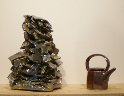 photo - On display are works he has made using a technique that creates dynamic, ribbon-like clay structures