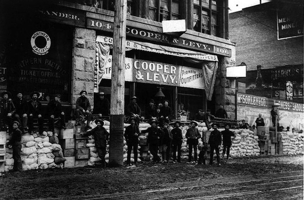 photo - Cooper & Levy store, 104-106 1st Ave. S. near Yesler Way, Seattle, 1897. The store was one of the major outfitters of the Klondike Gold Rush
