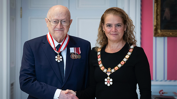 photo - Dr. Peter Suedfeld with Governor General Julie Payette at Rideau Hall