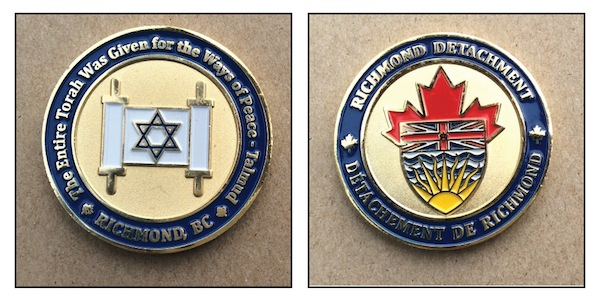 photos - The Jewish challenge coin was designed by Sgt. Kevin Krieger and Rabbi Adam Rubin