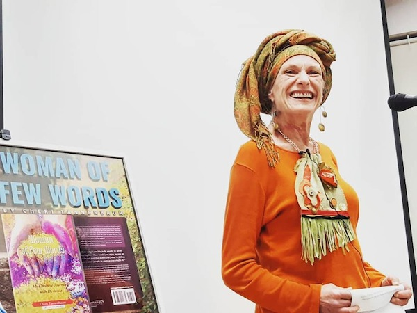 photo - Author Cheri Tannenbaum gives a talk about her book, A Woman of Few Words