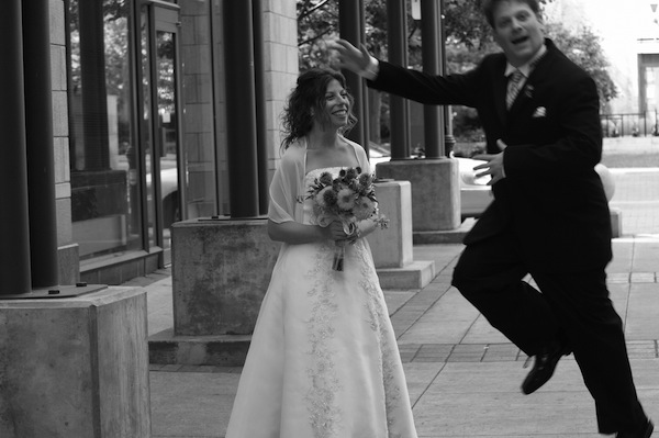 photo - A moment of levity during the taking of Justine and Stewart Silver's wedding photos