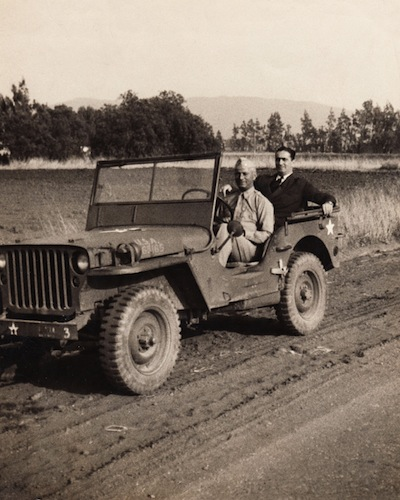 photo - Moe Berg in a military jeep in California with his brother Sam during the war, July 1942
