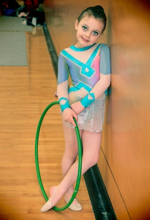 photo - Belle David at her first rhythmic gymnastics competition, at age 6