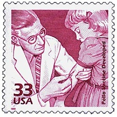 image - One of several U.S. postage stamps commemorating the polio vaccines of Jonas Salk and Albert Sabin