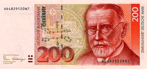photo - During the Nazi regime, all references to the great physician-chemist Paul Ehrlich were suppressed. In the 1990s, he was featured on the German 200-mark bill