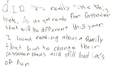 photo - Fae's note on what her mother, Deborah (D.), thought of the book Asteroid Goldberg: Passover in Outer Space