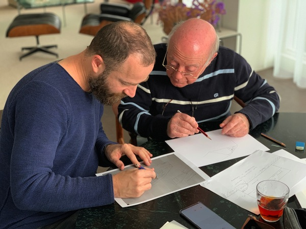 photo - Gilad Seliktar, left, and Rolf Kamp in Amsterdam. They are drawing the last hiding place of Nico and Rolf Kamp in Achterveld, which was liberated in April 1945 by Canadian troop