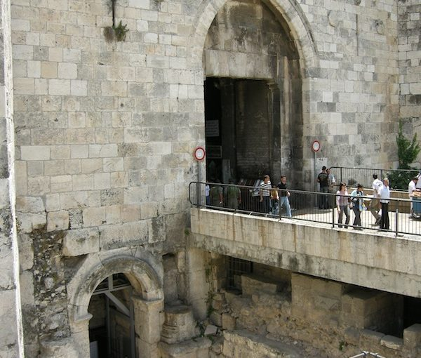 photo - Damascus Gate today and, below it, the Aelia Capitolina arch leading to the Roman Plaza
