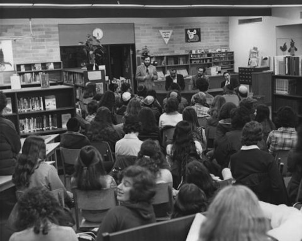 """Who is a Jew?"" student assembly, at the Jewish Community High School, 1974"