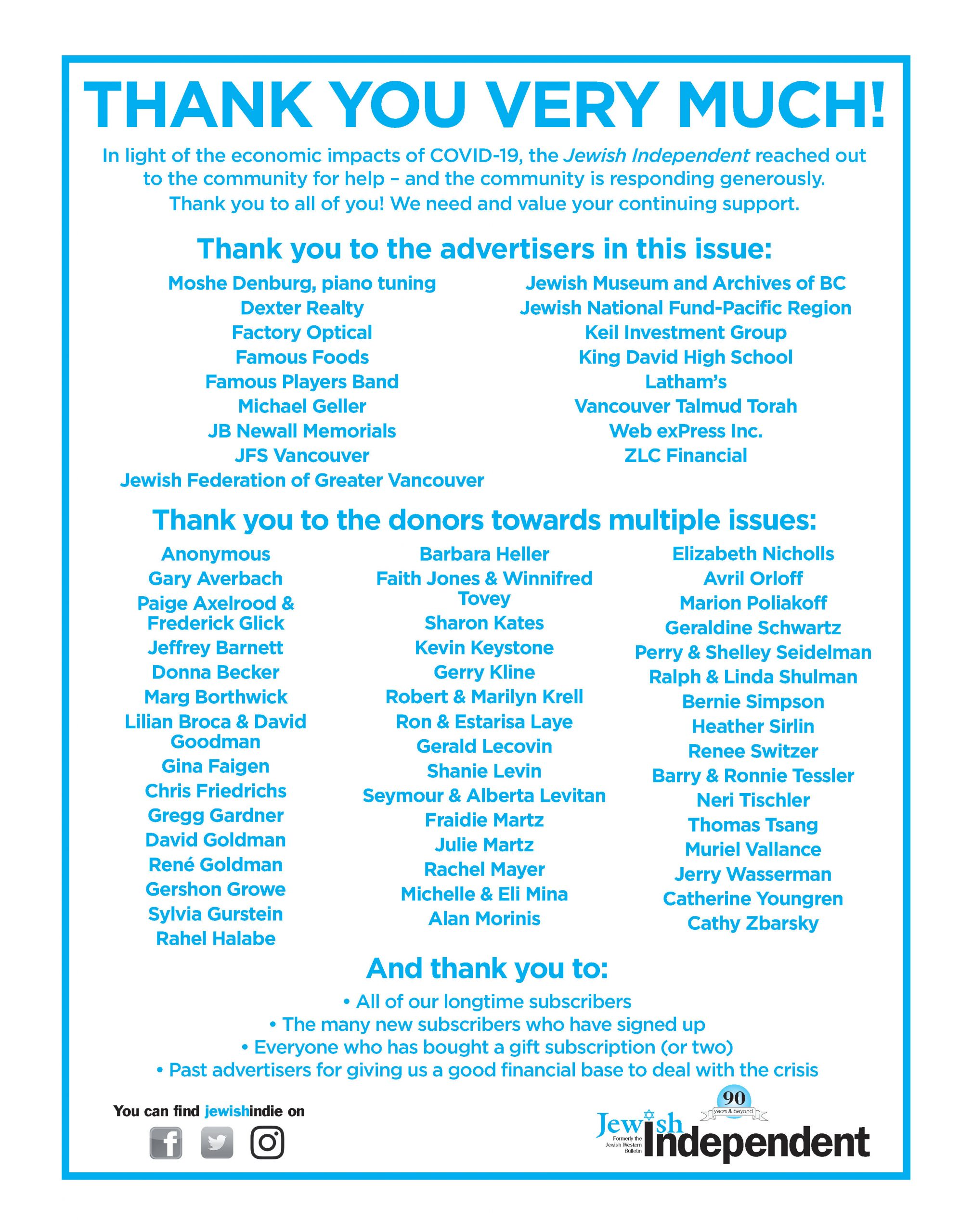image - Thank you to all who contributed to the June 26/20 issue ad from paper