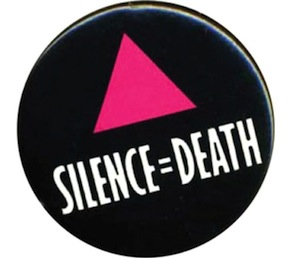 image - The original Silence=Death poster has been adapted over the years by many people, including for use as a pin