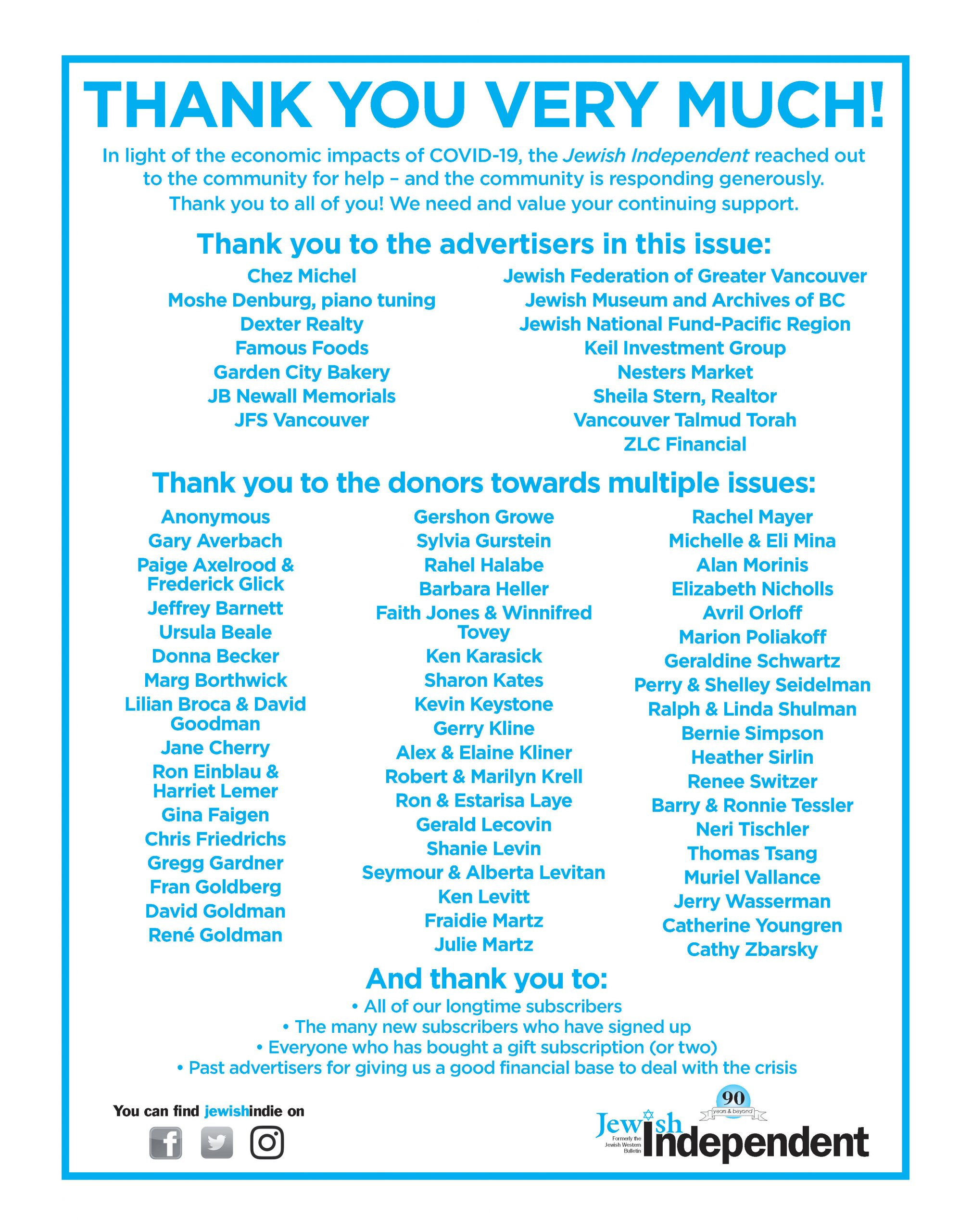 image - image - Thank you to all who contributed to the July 10/20 issue ad from paper