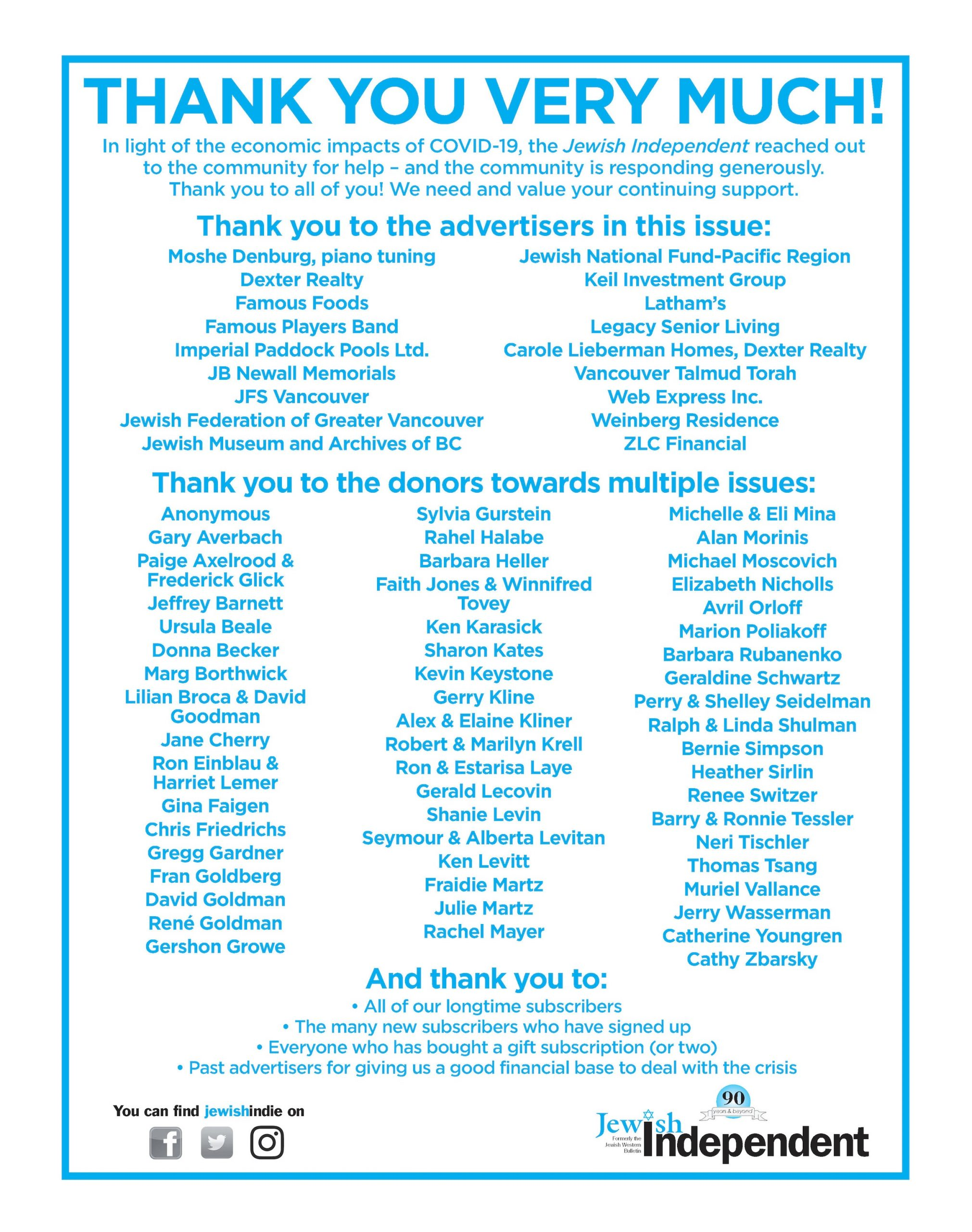image - Thank you to all who contributed to the July 24/20 issue ad from paper