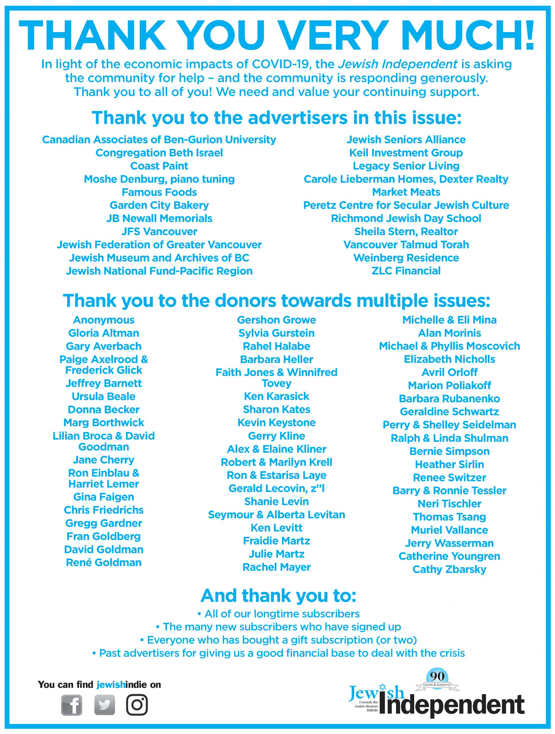 image - Thank you to all who contributed to the Aug. 21/20 issue ad from paper