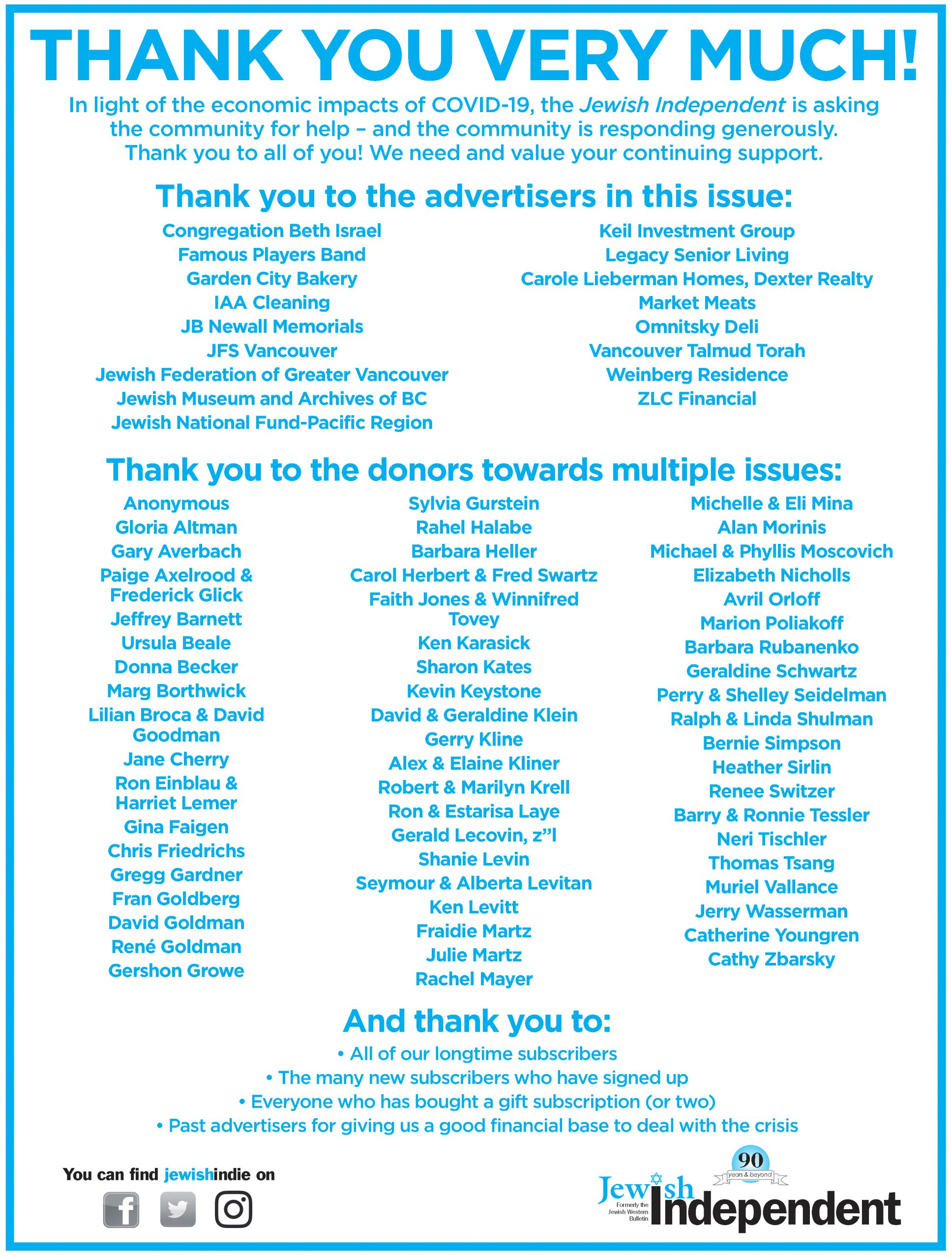 image - Thank you to all who contributed to the Aug. 28/20 issue ad from paper