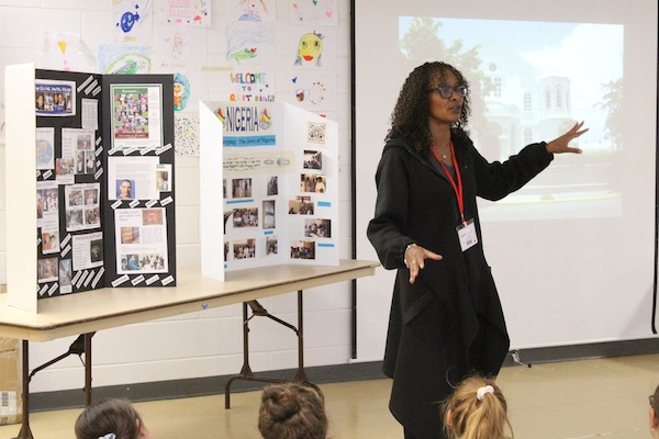 photo - Rivka Campbell, a co-founder of Jews of Colour Canada, speaks at a school event
