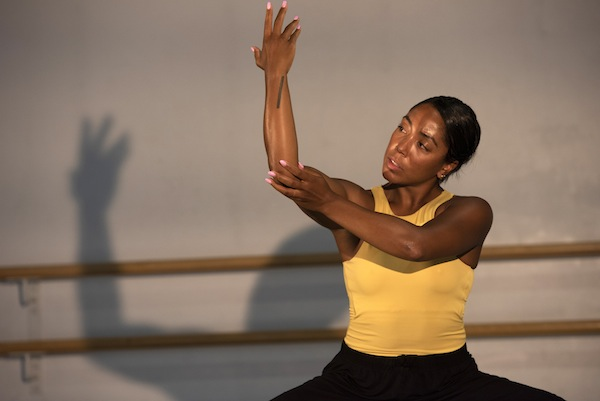 photo - Livona Ellis rehearses for the Dance Centre performance of Mary-Louise Albert: Solo Dances/Past into Present