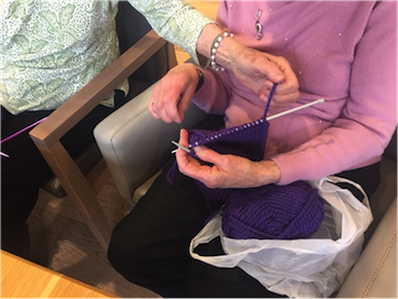 A scarf in progress at Legacy Senior Living (the Leo Wertman Residence)