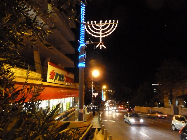 photo - Chanukah lights on Agron Road in Jerusalem, 2012