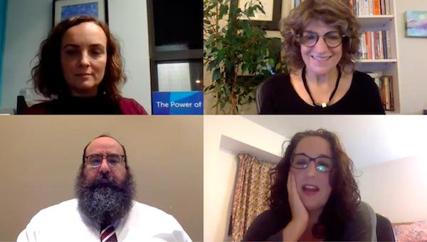 screenshot - Clockwise from the top left: Tanja Demajo, Shelley Karrel, Amanda Haymond Malul and Rabbi Yechiel Baitelman participate in a JACS Vancouver panel discussion Oct. 15