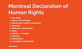 screenshot - In her presentation Nov. 19 at the Simces & Rabkin Family Dialogue on Human Rights, Dr. Rumman Chowdhury highlighted the 2006 Montreal Declaration of Human Rights.