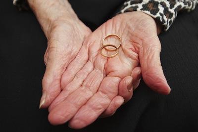 photo - Margaret Newman Kaufman displays her wedding rings