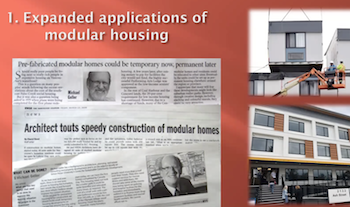 creenshot from Michael Geller's presentation at the Tikva Housing Society annual general meeting Dec. 11. It was one of eight ideas he suggested to create more space for housing