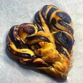 photo - A heart-shaped chocolate babka made by Mandy Silverman, aka Mandylicious