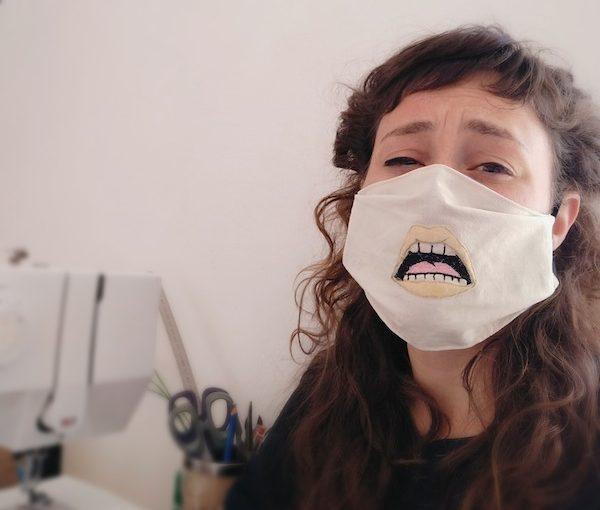 photo - A Stitches by Orli mask, modeled by the designer Orli Fields