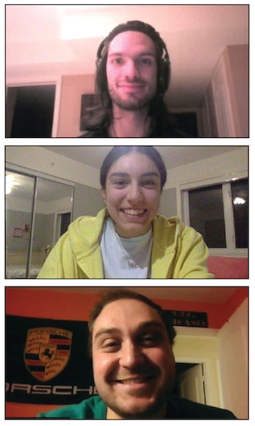 screenshots - From top: Concordia Student Union councilors Eduardo Malorni, Nicole Nashen and Harrison Kirshner spoke to the Independent via Zoom about the CSU's apology to Jewish students