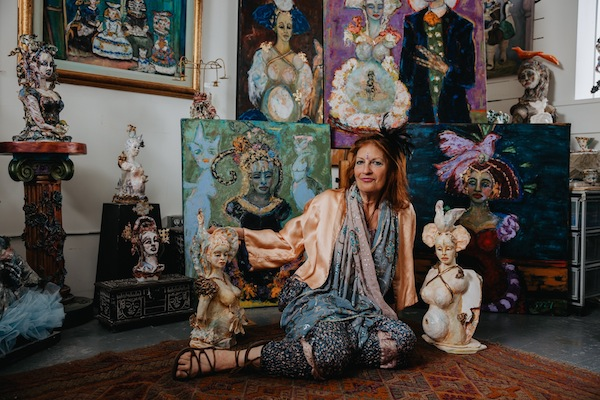photo - Suzy Birstein in her studio, with works featured in her solo exhibit Tsipora, now at the Zack Gallery