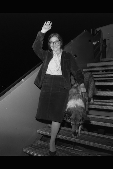 photo - Ida Nudel and her dog arrive on a private Boeing jet, owned by American oil billionaire Armand Hammer, at Ben-Gurion Airport on Oct. 15, 1987